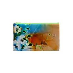 Wonderful Flowers In Colorful And Glowing Lines Cosmetic Bag (xs)