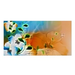 Wonderful Flowers In Colorful And Glowing Lines Satin Shawl