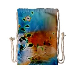 Wonderful Flowers In Colorful And Glowing Lines Drawstring Bag (Small)