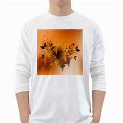 Awesome Summer  Flowers In Soft Red And Yellow White Long Sleeve T Shirts