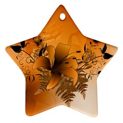 Awesome Summer  Flowers In Soft Red And Yellow Star Ornament (Two Sides)