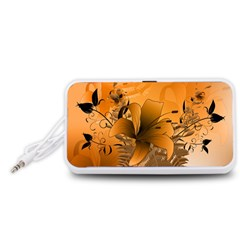 Awesome Summer  Flowers In Soft Red And Yellow Portable Speaker (White)