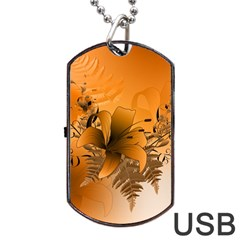 Awesome Summer  Flowers In Soft Red And Yellow Dog Tag USB Flash (One Side)
