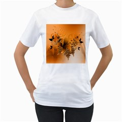 Awesome Summer  Flowers In Soft Red And Yellow Women s T-Shirt (White)