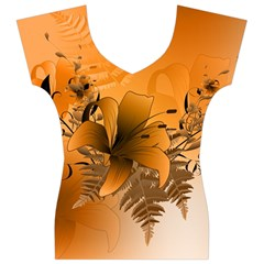 Awesome Summer  Flowers In Soft Red And Yellow Women s V-Neck Cap Sleeve Top