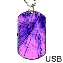 Special Fireworks Pink,blue Dog Tag Usb Flash (one Side)