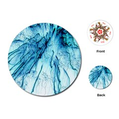 Special Fireworks, Aqua Playing Cards (Round)