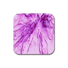 Special Fireworks, Pink Rubber Square Coaster (4 pack)