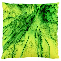 Special Fireworks, Green Large Flano Cushion Cases (two Sides)