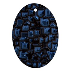 Metalart 23 Blue Oval Ornament (Two Sides)