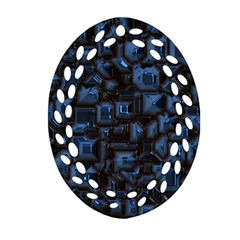 Metalart 23 Blue Oval Filigree Ornament (2-Side)