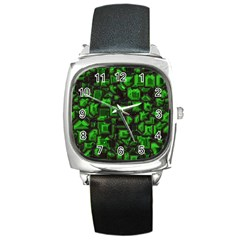 Metalart 23 Green Square Metal Watches