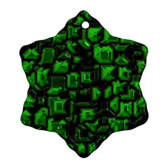 Metalart 23 Green Snowflake Ornament (2-Side)