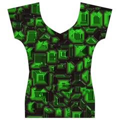 Metalart 23 Green Women s V-Neck Cap Sleeve Top