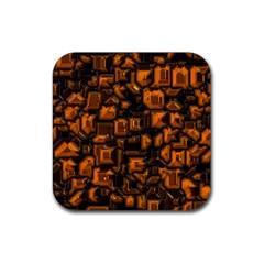 Metalart 23 Orange Rubber Square Coaster (4 pack)