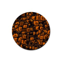 Metalart 23 Orange Rubber Coaster (Round)