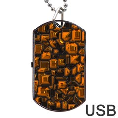 Metalart 23 Orange Dog Tag Usb Flash (one Side)