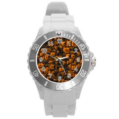 Metalart 23 Orange Round Plastic Sport Watch (L)