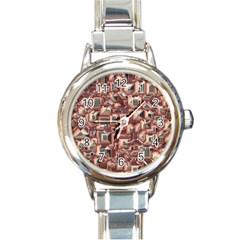 Metalart 23 Peach Round Italian Charm Watches