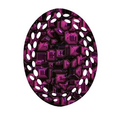 Metalart 23 Pink Oval Filigree Ornament (2-Side)