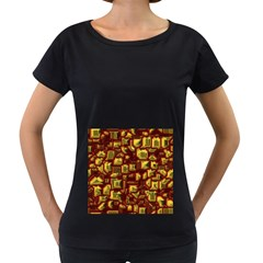 Metalart 23 Red Yellow Women s Loose-Fit T-Shirt (Black)