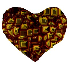 Metalart 23 Red Yellow Large 19  Premium Heart Shape Cushions