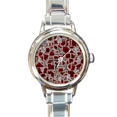 Metalart 23 Red Silver Round Italian Charm Watches