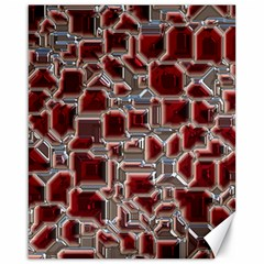 Metalart 23 Red Silver Canvas 16  x 20