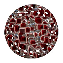 Metalart 23 Red Silver Round Filigree Ornament (2Side)