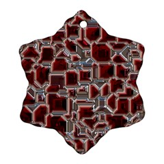 Metalart 23 Red Silver Snowflake Ornament (2-Side)
