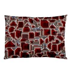 Metalart 23 Red Silver Pillow Cases (Two Sides)