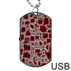 Metalart 23 Red Silver Dog Tag USB Flash (One Side)