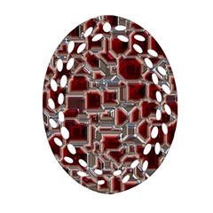 Metalart 23 Red Silver Oval Filigree Ornament (2-Side)
