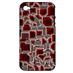 Metalart 23 Red Silver Apple iPhone 4/4S Hardshell Case (PC+Silicone)