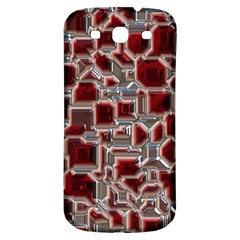 Metalart 23 Red Silver Samsung Galaxy S3 S III Classic Hardshell Back Case