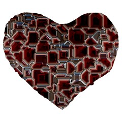 Metalart 23 Red Silver Large 19  Premium Heart Shape Cushions