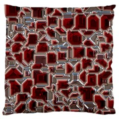 Metalart 23 Red Silver Large Flano Cushion Cases (two Sides)