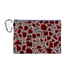 Metalart 23 Red Silver Canvas Cosmetic Bag (M)