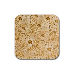 Flower Pattern In Soft  Colors Rubber Square Coaster (4 pack)