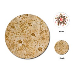 Flower Pattern In Soft  Colors Playing Cards (Round)