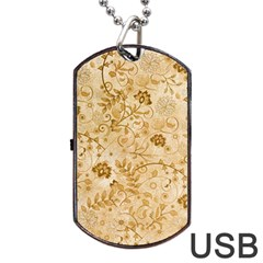 Flower Pattern In Soft  Colors Dog Tag USB Flash (Two Sides)