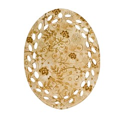 Flower Pattern In Soft  Colors Oval Filigree Ornament (2 Side)