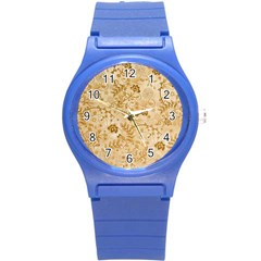 Flower Pattern In Soft  Colors Round Plastic Sport Watch (S)