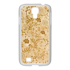 Flower Pattern In Soft  Colors Samsung GALAXY S4 I9500/ I9505 Case (White)