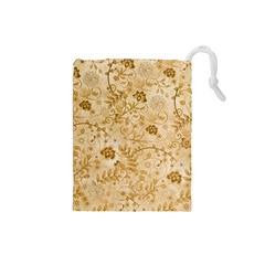 Flower Pattern In Soft  Colors Drawstring Pouches (Small)