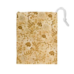 Flower Pattern In Soft  Colors Drawstring Pouches (Large)