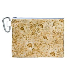 Flower Pattern In Soft  Colors Canvas Cosmetic Bag (L)