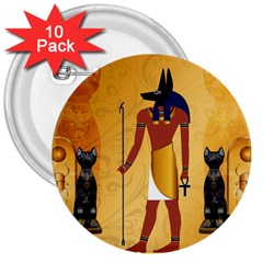 Anubis, Ancient Egyptian God Of The Dead Rituals  3  Buttons (10 pack)