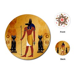 Anubis, Ancient Egyptian God Of The Dead Rituals  Playing Cards (Round)