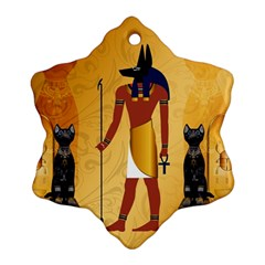 Anubis, Ancient Egyptian God Of The Dead Rituals  Snowflake Ornament (2-Side)